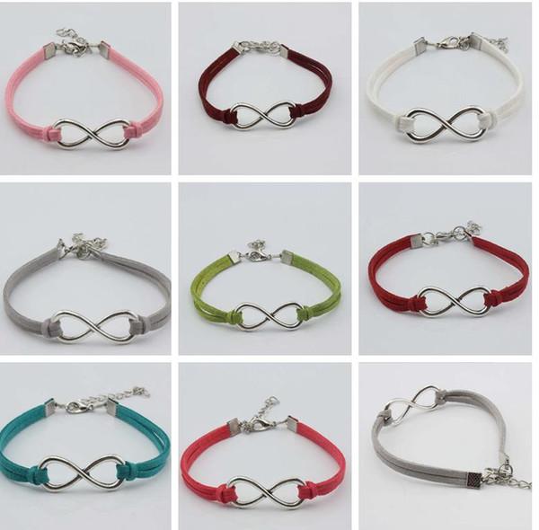 17 colori otto 8 bracciale Infinity otto bracciale bangle in argento placcato gioielli bracciale in vera pelle per uomo donna