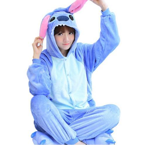 Winter Cosplay Flannel Warm Pyjamas Animal Onesie Women Stitch Unicorn Pajamas Kangaroo Adult Pajama Sets