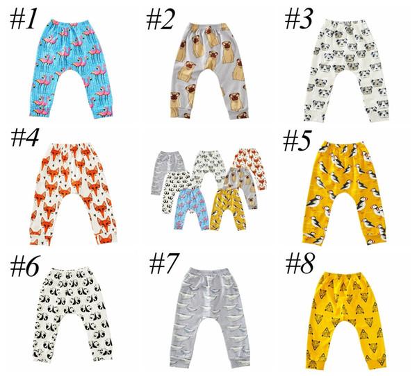 top popular INS Baby Animal Cartoon Leggings Casual Cartoon Animal Pants Colorful Fox Panda Tiger Infant Long Trousers PP Pants 8colors choose free ship 2020