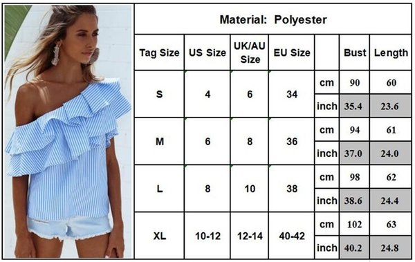 f481e85ff8e Womens Off Shoulder Tops Blouse Shirt Ladies Summer One Shoulder Ruffle  Frill Striped Top Tee Shirts