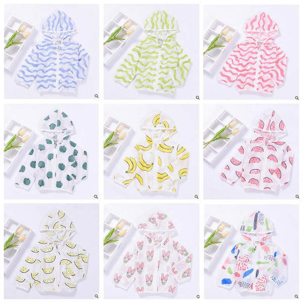 top popular Kids Summer Sun-proof Tops Print Long Sleeved Ultrathin Hoodie Kid Summer Breathable Air Condition Clothes Boys Girls Summer Cloth Coat J286 2021