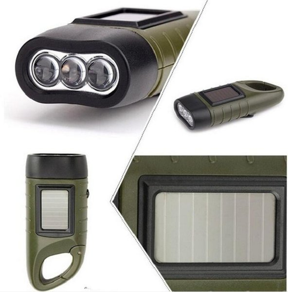 Emergency Hand crank Solar Flashlight Lampe Torche Rechargeable LED Light Lamp Charging Powerful Torch For Camping Outdoor
