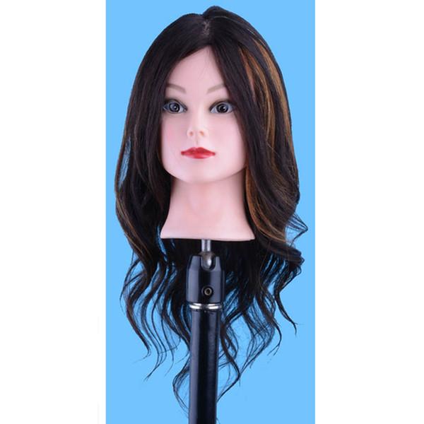 18'' 100% Human Hair Head Doll Training Head Hairdressing Mannequins Doll Heads Dummy Hairstyles Long Hair And Natural Hair Training Head