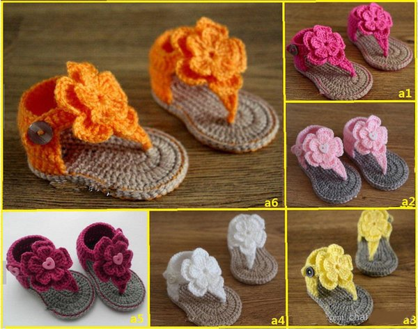 Crochet Baby Boys Girls Double Wool Flowers Baby Sandals Flip-flops Soft Bottom Flattie Knitted Shoes Kids Flats Prewalker 0-12M Cotton Yarn