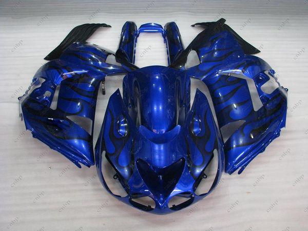 Bodywork ZZ-R1400 2006 Plastic Fairings ZZR 1400 06 07 Blue Black Flame Fairing Kits Zx14 Zx-14r 2009 2006 - 2011