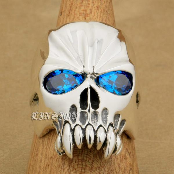 LINSION Huge Heavy 925 Sterling Silver Blue CZ Eyes Skull Mens Biker Rocker Punk Ring 9M204 US Size 7~15