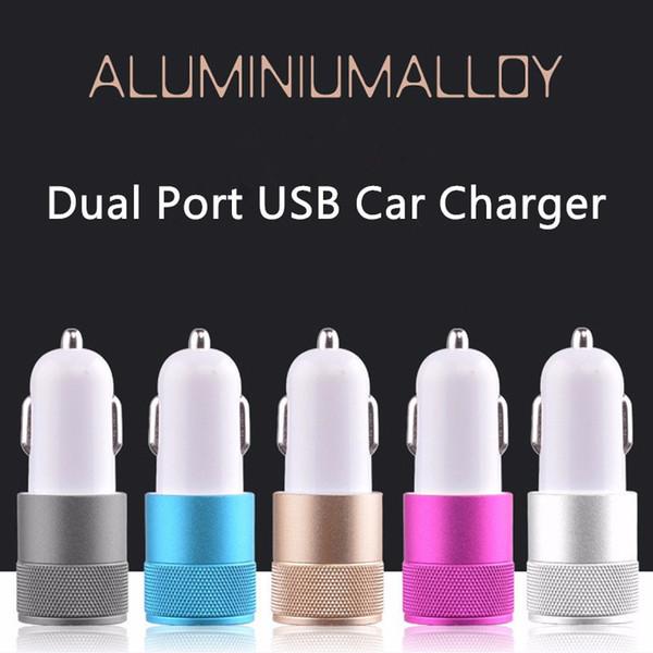 HD-DUC39 12V 2.1A1A Metallo alluminio 2 porte USB Caricabatteria da auto universale USB doppio per iPhone 5 6 6 plus per ipad 2 3 4 5 Samsung Galaxy S4 S5