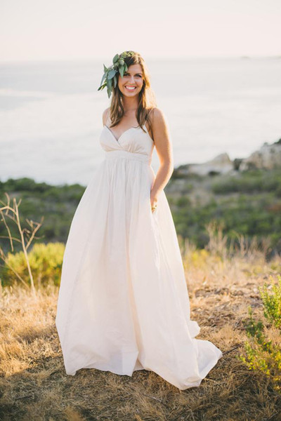 2017 Bohemain Country A Line Beach Wedding Dresses Sexy Spaghetti Straps Taffeta Cheap Empire Ivory Maternity Skirt Bridal Gowns