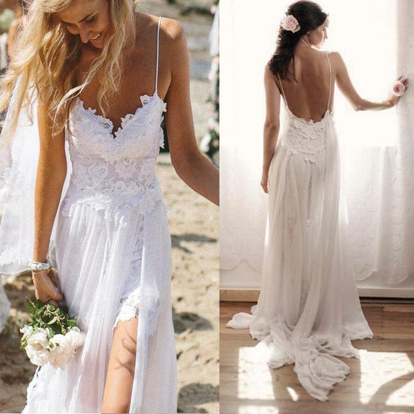 best selling New Beach Chiffon Wirn Lace Sweetheart Straps Sleeveless Backless Long Sweep Train Custom Made Wedding Bridal Gowns