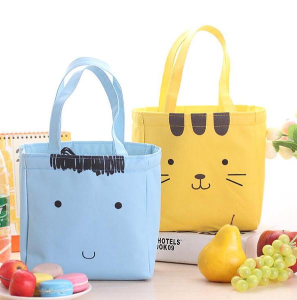 Borse per il pranzo di tela carino Cat's student's Office Storage Bag Sacchetto di frutta alimentare Isolamento / Ice Cooler Borsa prodotti