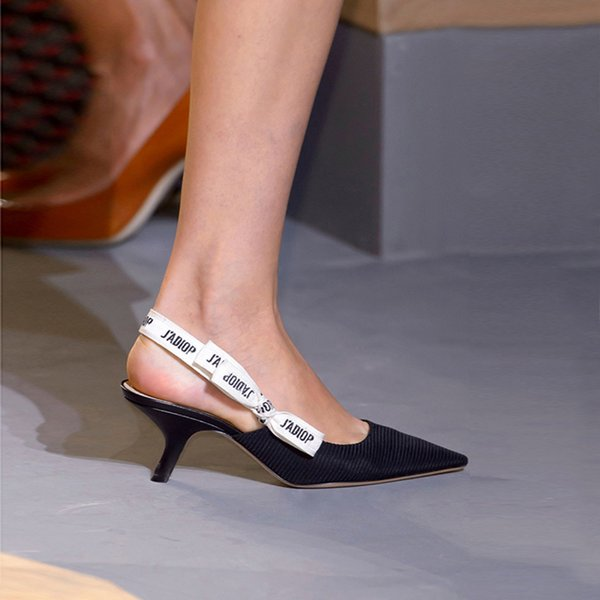 high quality~u731 black genuine leather slingback pointy low heels flats shoes sandals runway catwalk vogue designer