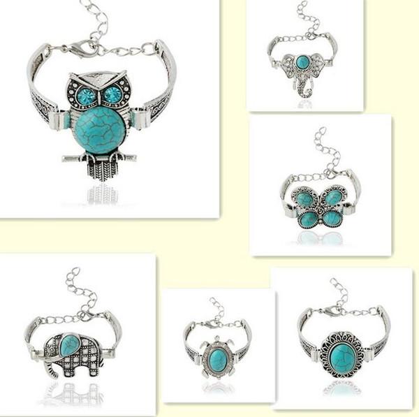 Good A++ Explosive Imitation Thai Silver Owl Retro Bracelet Animal Bracelet FB273 mix order 20 pieces a lot Charm Bracelets