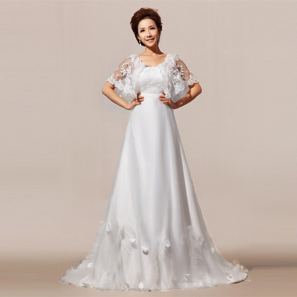 BEST SELLER Wedding dress flat Shoulders Tail wedding dress lace ...