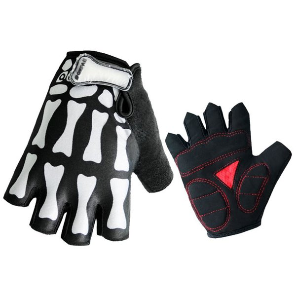 New Skull Gloves Summer Women Half Finger Bike Bicycles Gloves 3mm Gel Pad Racing Bicycle Cycling Gloves