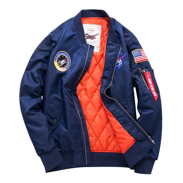 Fashion Bomber jacket men mens jackets brand stand collar long sleeve embroidery zipper solid color thick autumn and winter wholesale LX005