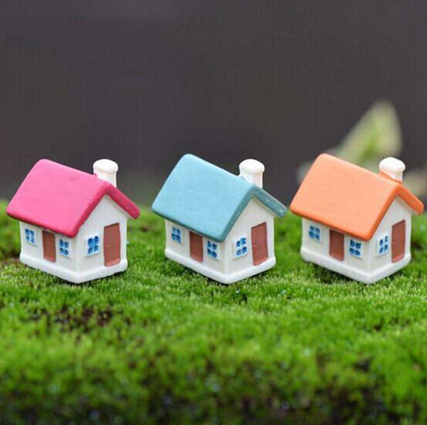 3pcs Artificial Mini House Fairy Garden Decoration Gnome Forest House figurines Moss Landscape Ornament