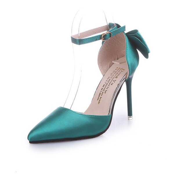 2017 estate stile europeo dolce bowknot fibbia cinturino 4 colori moda 10 cm tacchi alti scarpe da sposa pu punta scarpe da sposa sexy rosso