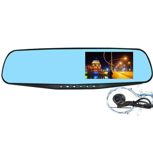 4.3 Inch Blue Mirror Anti-Glare Ultra HD Display Dual Lens Rearview Mirror Car DVR Parking Monitoring Detection One Key Lock Free POST