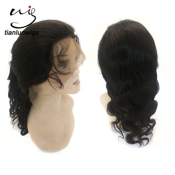 16 inch natural color body wave vietnam cheap hair full lace wig with baby hair for women