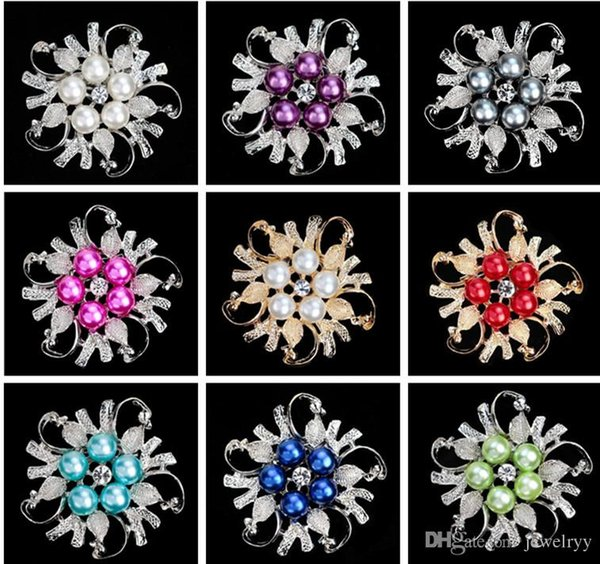 Luxury Bridal Wedding Brooches Crystal Rhinestone Pearl Flower Brooch Pin Imitation Rhodium Plated Pins Women Party Brooch Jewelry 9 colors