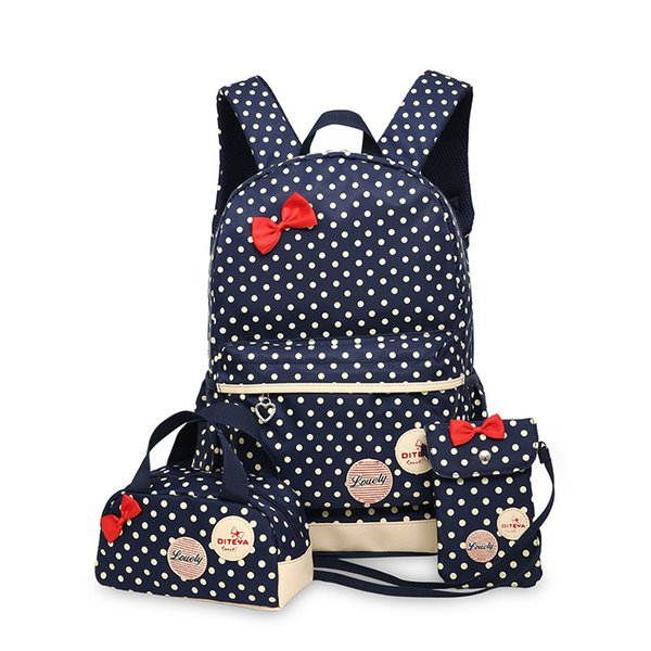 Hot Sale 3 Pcs/Set Cute Bow Wave Point Girl School Bags for Teenagers Backpack Set Women Shoulder Travel Bags Rucksack Mochila Knapsack