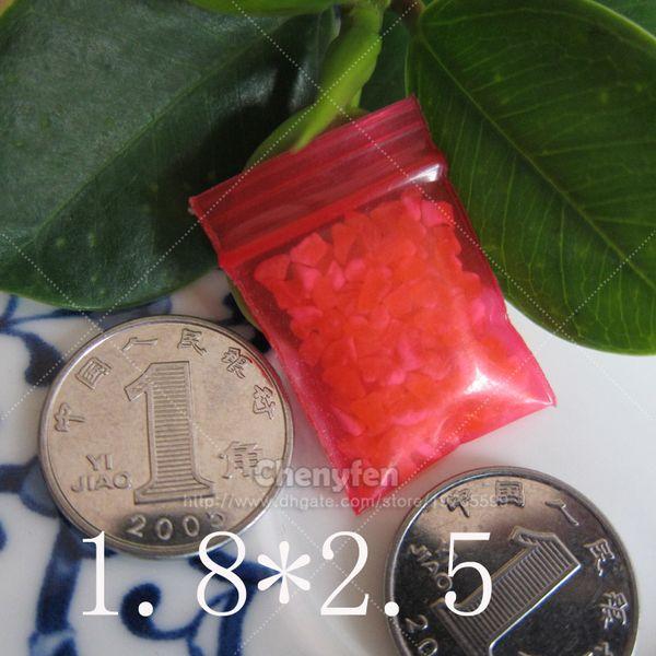 "Free Shipping Transparent Red Color Ziplock Bag 500pcs 1.8x2.5cm Ultra Thick 8mil Tiny Reclosable Plastic Pe Baggies 0.7""x1"""