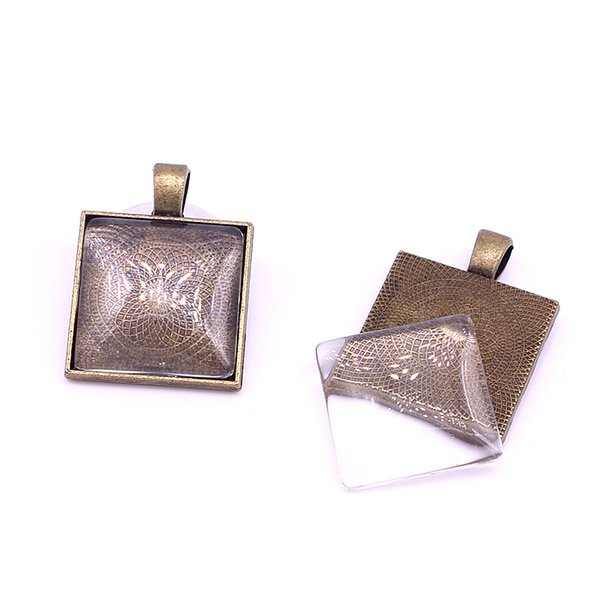 10set Antique Bronze Square 22*29mm(Fit 20*20mm dia) Pendant Blanks Fit Jewelry Making Charms + Clear Glass Cabochons A4701
