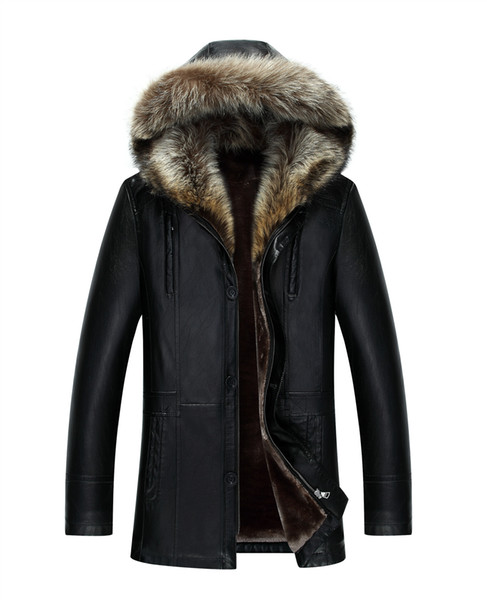 best selling Men Genuine Leather Jacket Winter Coats Real Raccoon Fur Collar Hooded Cashmere Tops Snow Outwear Overcoat Warm Thick outdoor Plus Size