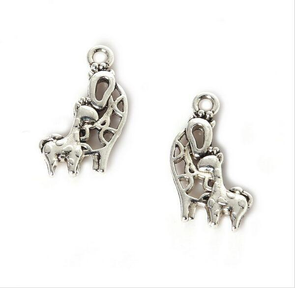 300PCS/lot zinc alloy Giraffe Charms Antique Silver Plated Pendant Bracelet for DIY Jewelry Pendant Charms Making Finding 20x14mm