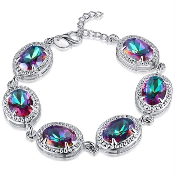 In Stock Fashion Jewelry 925 Silver Plate Crystal Rhinestone Clasp Link Chain Bracelet Bangle Red Blue Green Mix