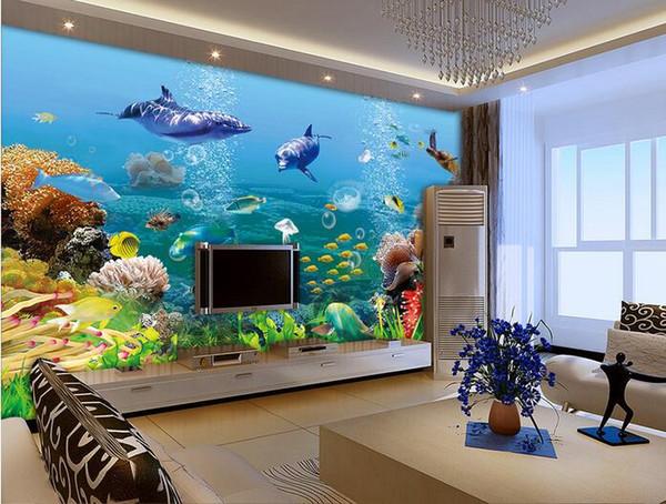 Compre 3d Room Wallpaper Personalizado Foto Mural Dolphin Fish Coral Aquarium Decoración Del Hogar Pintura De Fondo 3d Murales De Pared Papel De Pared