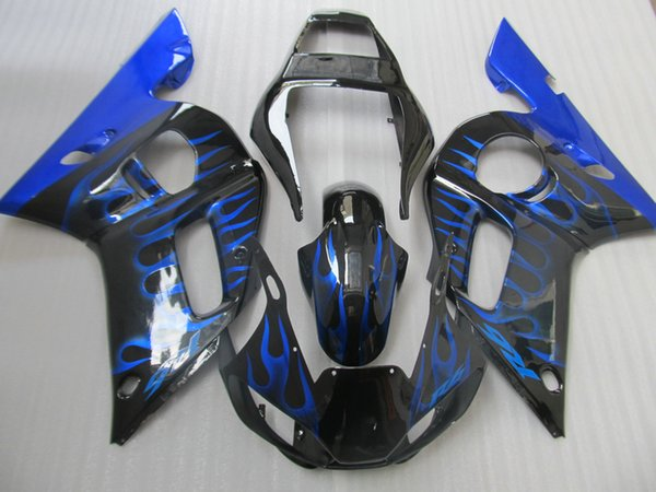 ABS plastic fairing kit for Yamaha YZF R6 98 99 00 01 02 blue flames black fairings set YZFR6 1998-2002 OT20