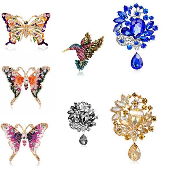 Wholesale Fashion Colorful Mental Flower Retro Bird Brooch Butterfly Crystal Women Girl Waterdrop Pendant Jewelry Gifts Brooch