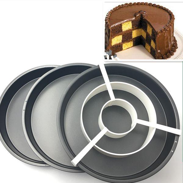 Free Shipping New Checkerboard Cake Mold 3 Non -Stick Baking Pan Tin Divider Set Diy Bakeware 8 ''Pizza Pan