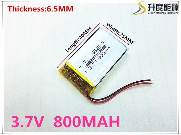 Baterías recargables de li-ion de pequeña capacidad 3.7V 800 mah 652540 para juguetes LJ