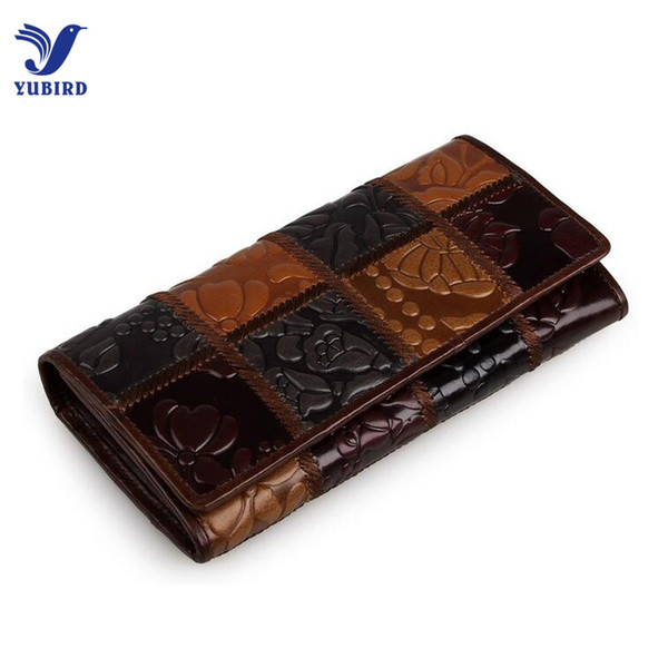 Wholesale- Fashion Women Purse Women Patchwork Genuine Leather Female Clutch Vintage National Long Wallet Women Luxury Brand Designer Gift