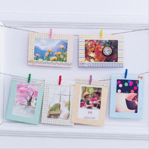 creative paper photo frames 8pcs/set 6 inch cute bow wall hanging paper photo frame picture album kraft paper card holder wooden clips