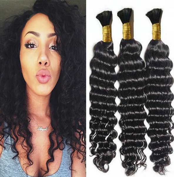 Brazilian Hair Deep Wave Curly Hair Bulk for Braiding 3 Pcs/lot Natural Color 10A Brazilian Human Hair No Attachment