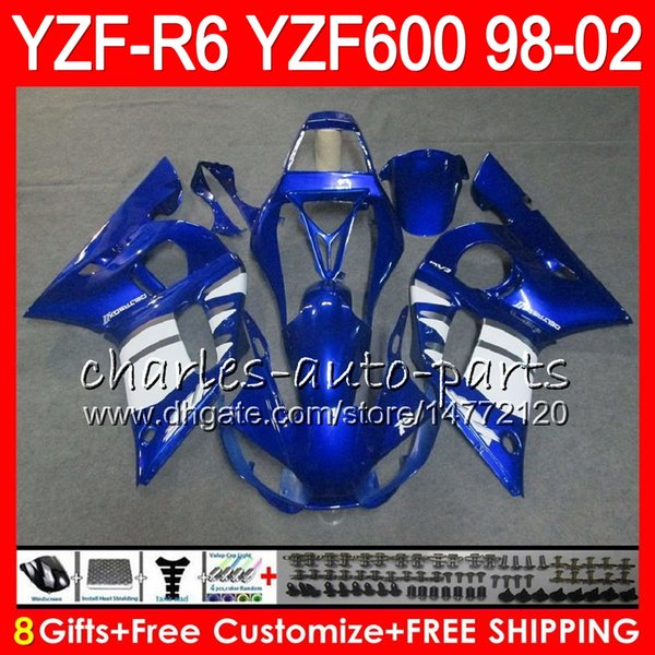 best selling 8Gifts 23Color For YAMAHA YZF600 YZFR6 98 99 00 01 02 YZF-R600 54HM8 YZF 600 YZF-R6 YZF R6 blue black 1998 1999 2000 2001 2002 Fairing kit