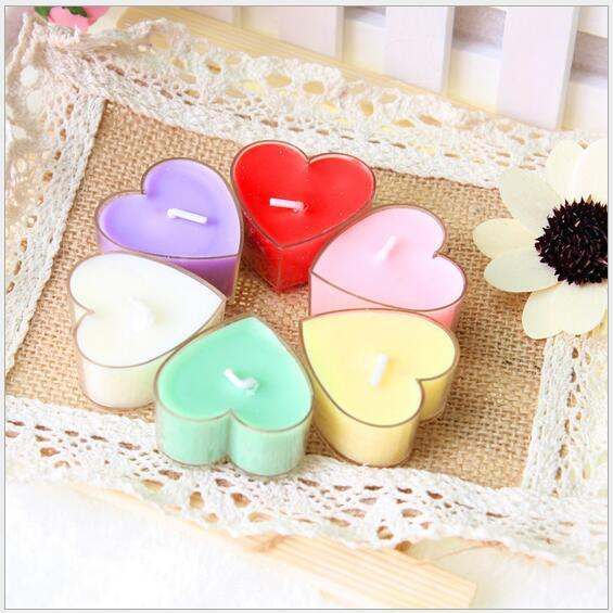 Wholesale 9/lot valentine's day delicate PVC box of heart-shaped scented candles scented candles romantic proposal home decoration tea wax