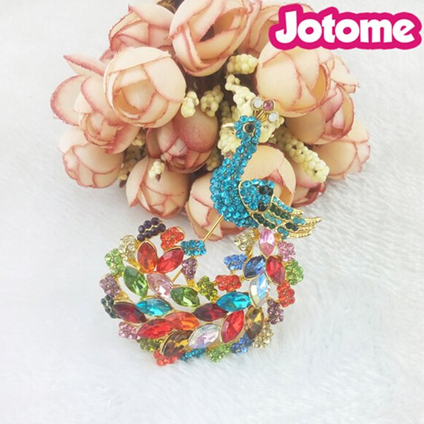 Large Jewelry fancy korean Style Multi Color Crystal Blue Peacock rhinestone Embellishment bird animal brooch pins