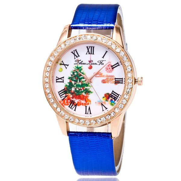 New Painted Blackground Leather Strap Watch Santa Claus Christmas Tree Sweet Heart Free Shipping Via DHL Epacket