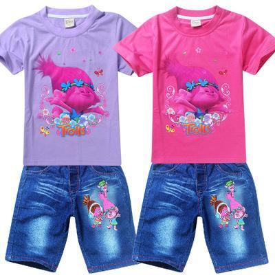 2017New arrival Fashion Children's Suit Kids Girls Trolls Tangled Elves Child short-sleeve T-shirt+pant 2pcs Sets Trolls clthing