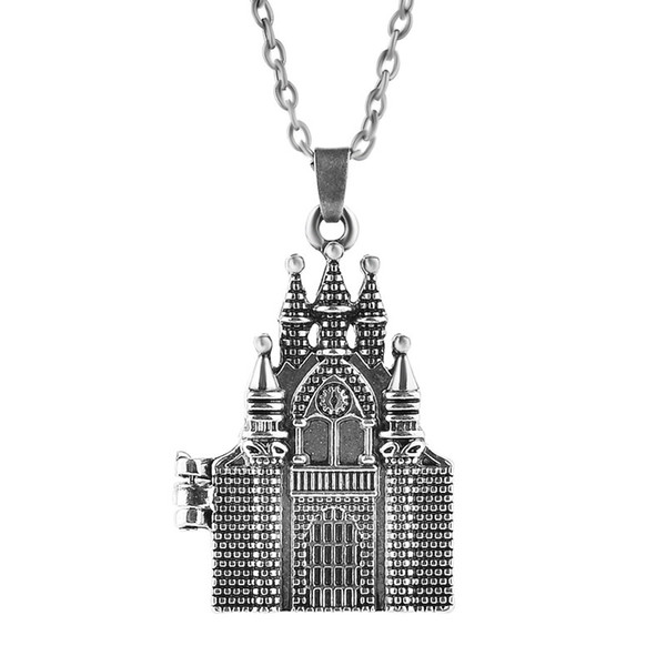 Harry Hogwarts Castle Necklace Ancient Silver Openable Castle Locket Necklace Pendants Potter Fashion Jewelry Gift Will and Sandy Drop Ship