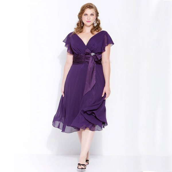 Purple Chiffon Mother Of Bride Plus Size Dresses A Line V Neck Tea Length Wedding Party