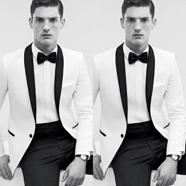 2018 Cheap Classic Black and White Wedding Tuxedos Bestmen Groom Tuxedos Formal Suits Business Men Wear(Jacket+Pants) Free Shipping