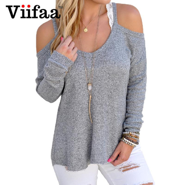 top popular Wholesale-Viifaa Cute Off Shoulder Sweaters Women Sexy Long Sleeve Autumn Pullover Knitted Plus Size Loose O Neck Pull Femme 2021