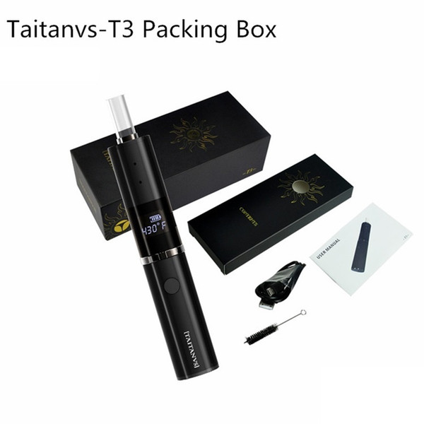 Authentic Taitanvs T3 Kit built-in 1200mAh battery Vape Pen Glass Heating Element with Hidden OLED Display A-I-O style Dry Herb Vaporizer