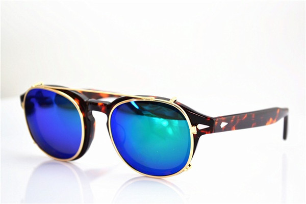 2017 clipes de alta qualidade dois tamanho johnny depp estilo clipe de óculos homens retro do vintage clipe polarizada mulheres óculos de sol clips 7 cor