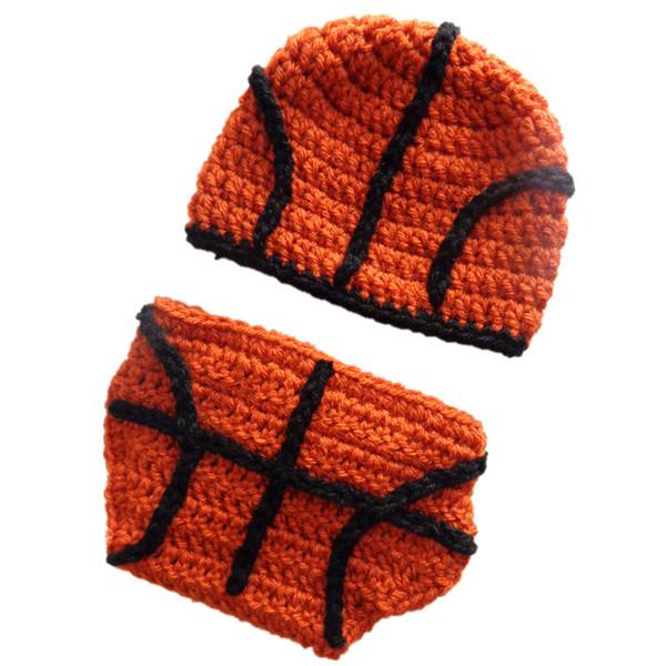 Little Basketball Star Costume,Handmade Knit Crochet Baby Boy Girl Cute Beanie Hat&Diaper Cover Set,Toddler Newborn Infant Photo Prop
